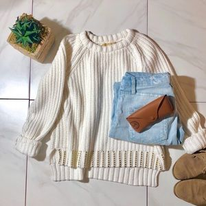 Michael MK Cable Knit Sweater with gold